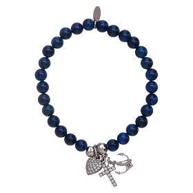 Bracciale agata AMEN blu 5 mm Fede, Speranza e Carità arg 925 s1