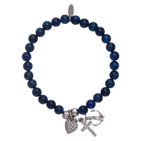Bracciale agata AMEN blu 5 mm Fede, Speranza e Carità arg 925 s2