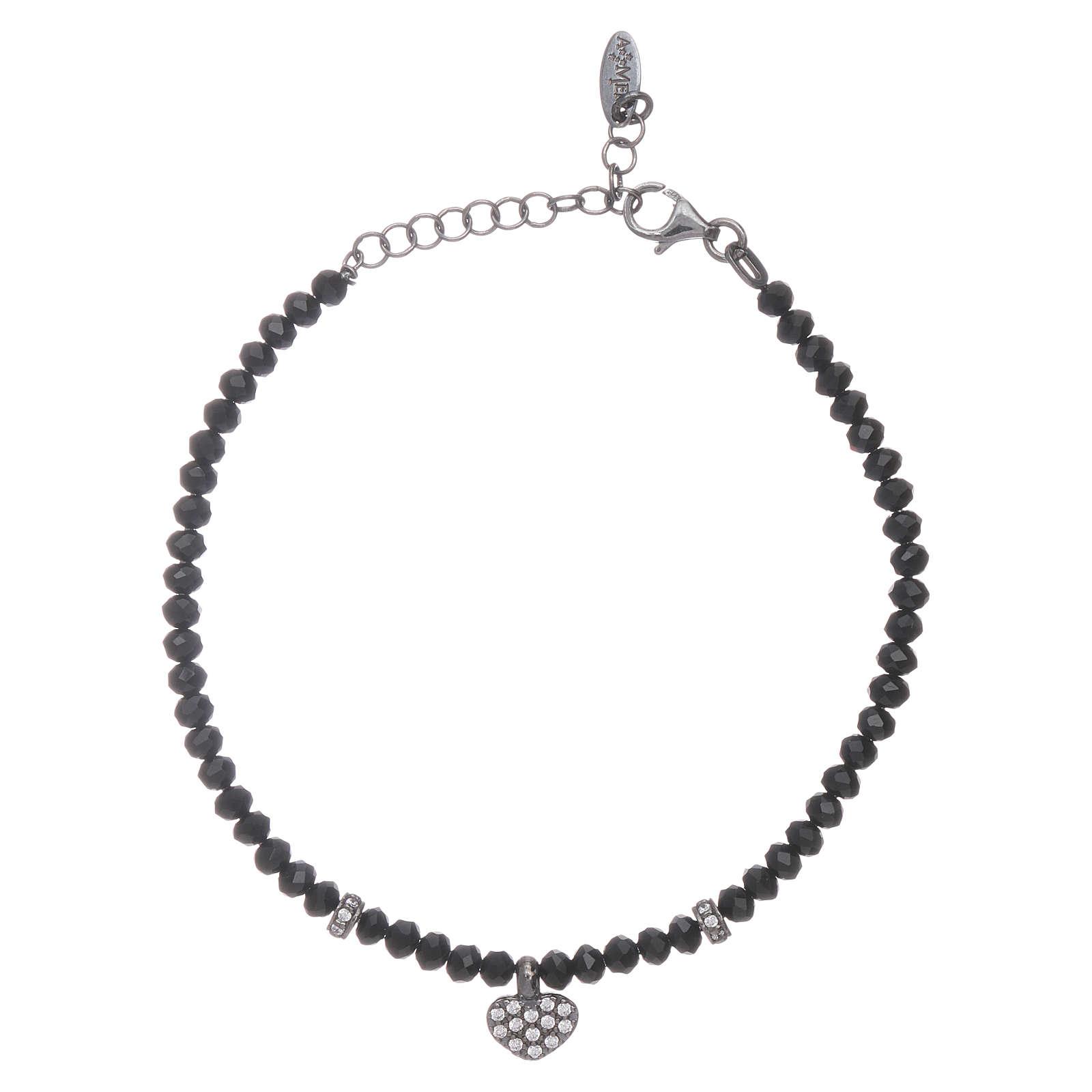 Bracciale AMEN cristalli neri arg 925 cuore zirconato 4