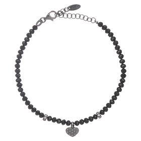 Bracciale AMEN cristalli neri arg 925 cuore zirconato s2