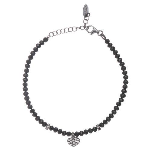 Bracciale AMEN cristalli neri arg 925 cuore zirconato 1