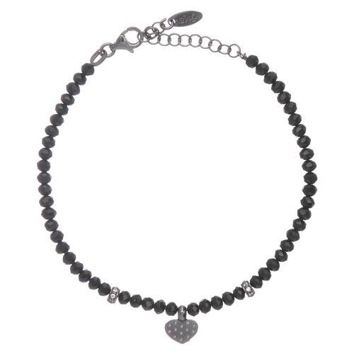 Bracciale AMEN cristalli neri arg 925 cuore zirconato 2