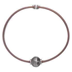 AMEN brown thermoplastic 925 sterling silver bracelet with a zirconate angel insert s2