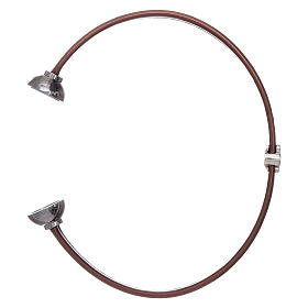 AMEN brown thermoplastic 925 sterling silver bracelet with a zirconate angel insert s3