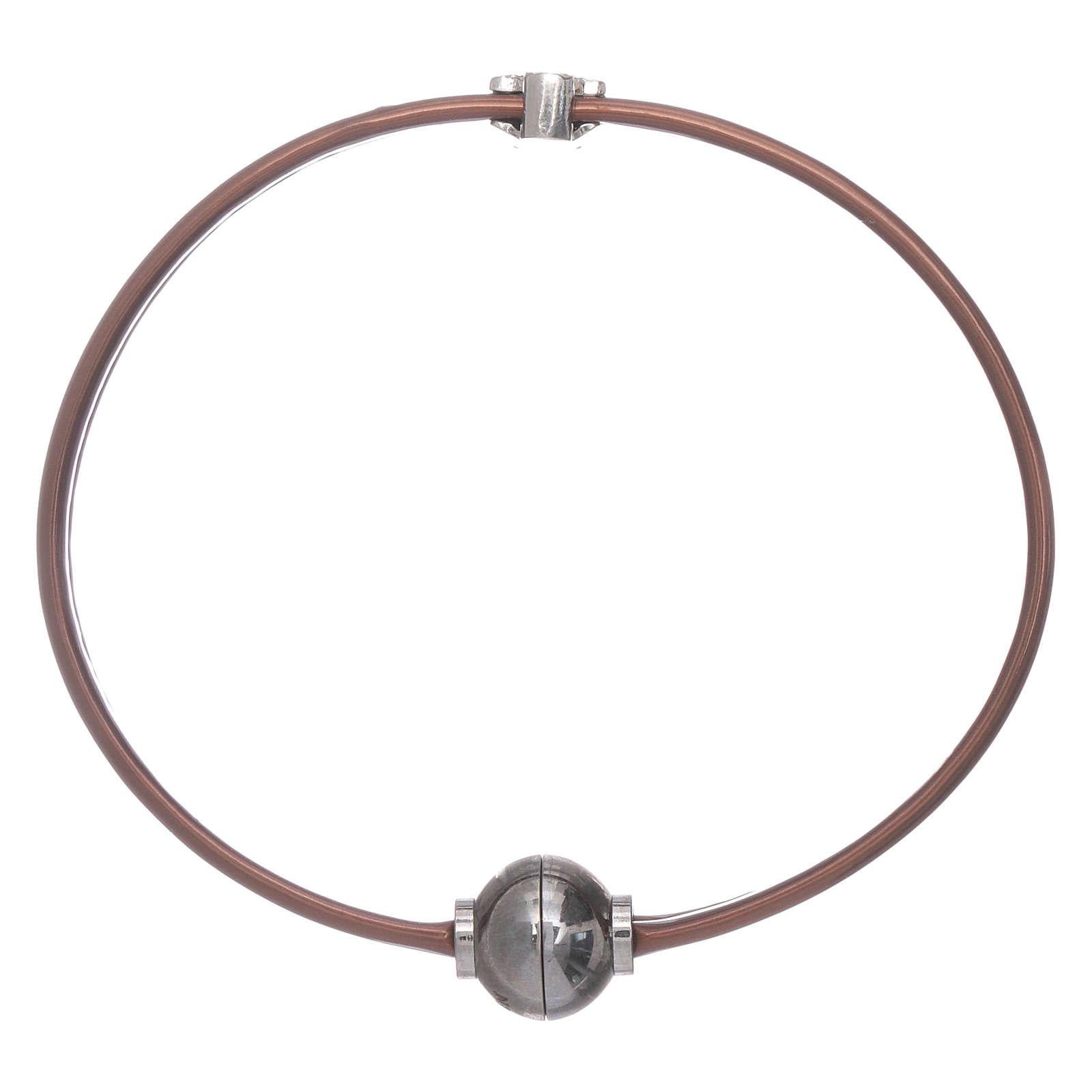 Pulsera termoplástico marrón angelito zirconado plata 925 AMEN 4