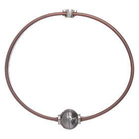 Pulsera termoplástico marrón angelito zirconado plata 925 AMEN s2