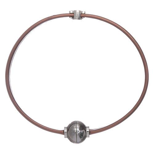 Pulsera termoplástico marrón angelito zirconado plata 925 AMEN 2