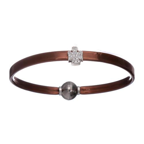 Bracelet thermoplastique marron ange zircons argent 925 AMEN 1