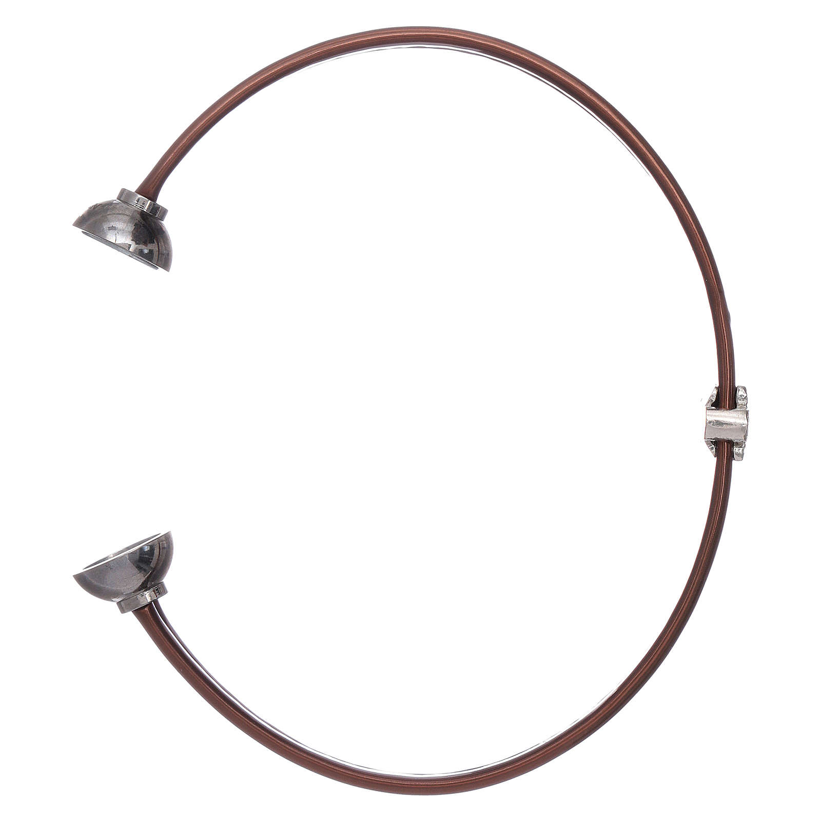 Bracciale termoplastica marrone angioletto zirconato arg 925 AMEN 4