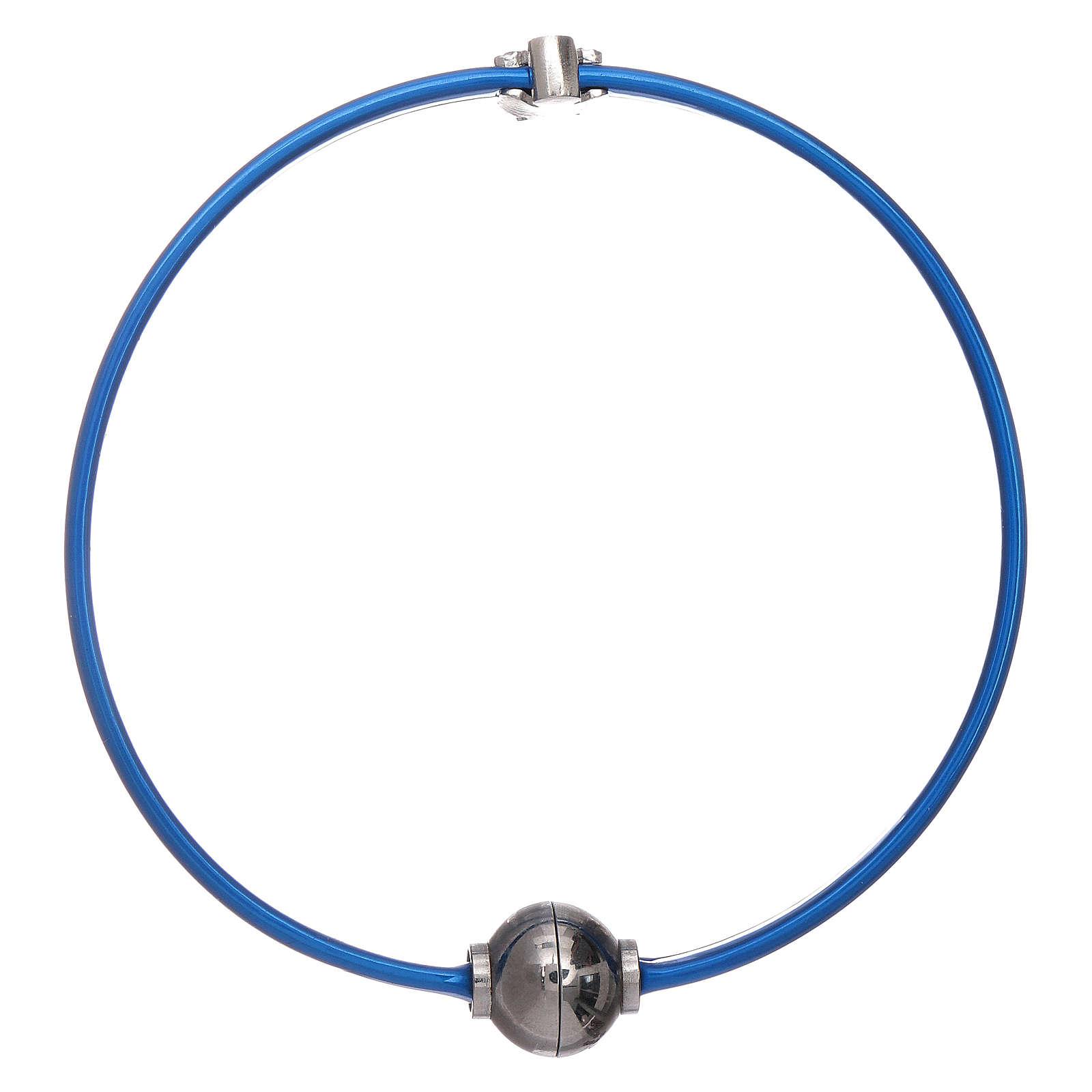 Bracciale blu termoplastica angioletto zirconato arg 925 AMEN 4