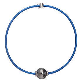 Bracciale blu termoplastica angioletto zirconato arg 925 AMEN s2