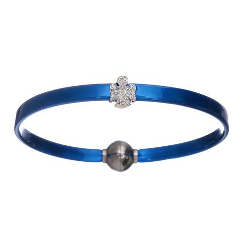 Bracciale blu termoplastica angioletto zirconato arg 925 AMEN 1