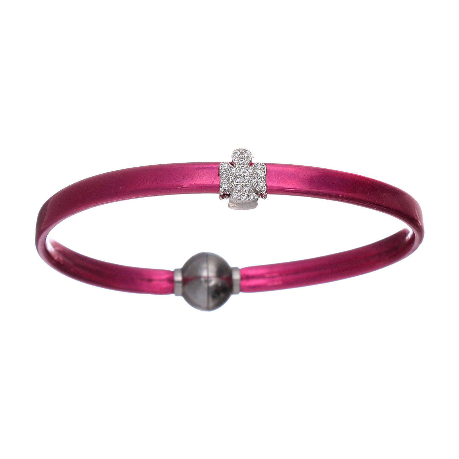 Bracelet ange zircons argent 925 AMEN thermoplastique fuchsia 4