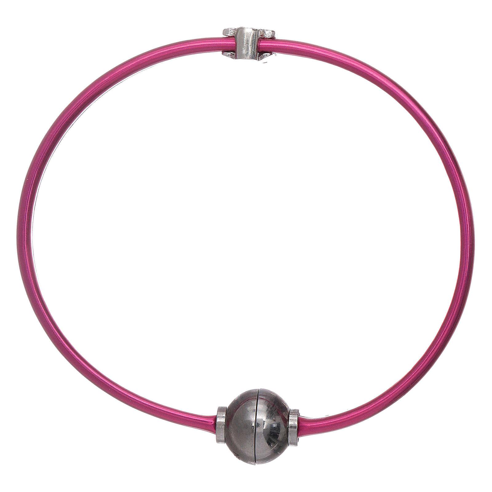 Bracciale angioletto zirconato arg 925 AMEN termoplastica fucsia 4