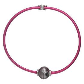 Bracciale angioletto zirconato arg 925 AMEN termoplastica fucsia s2