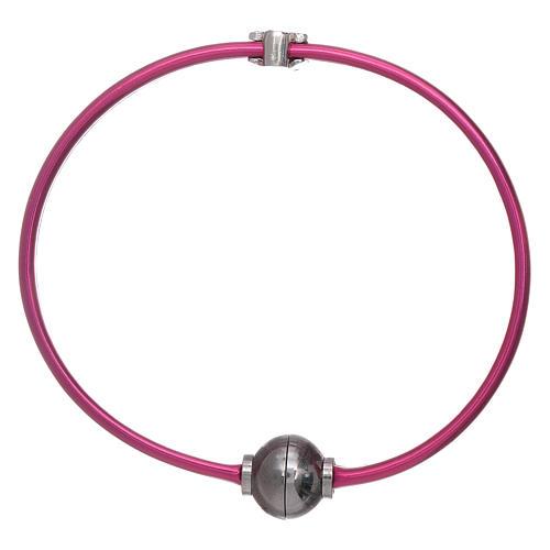 Bracciale angioletto zirconato arg 925 AMEN termoplastica fucsia 2