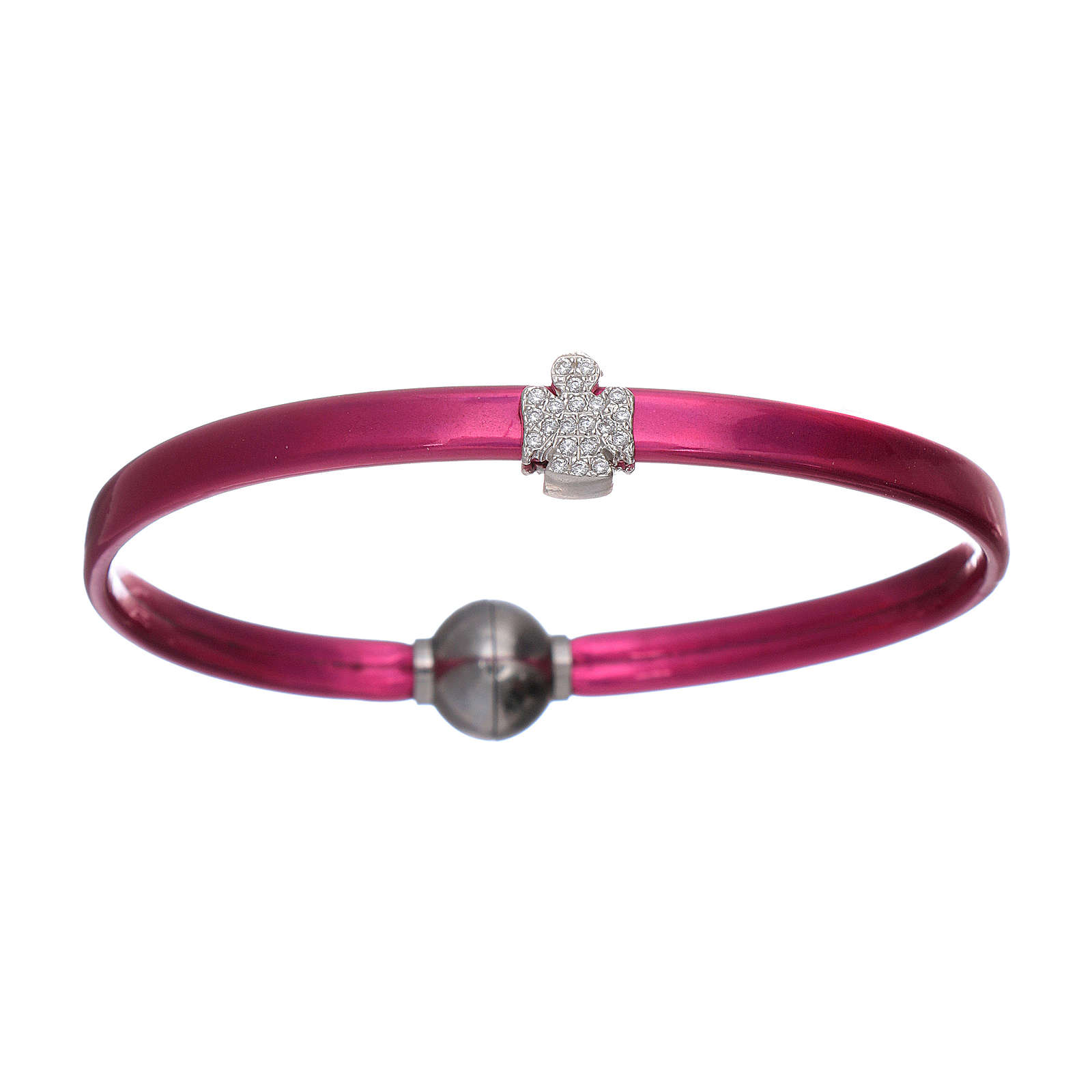 AMEN fuchsia thermoplastic bracelet with a 925 sterling silver zirconate angel insert 4