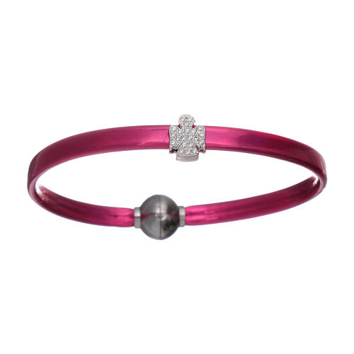 AMEN fuchsia thermoplastic bracelet with a 925 sterling silver zirconate angel insert 1