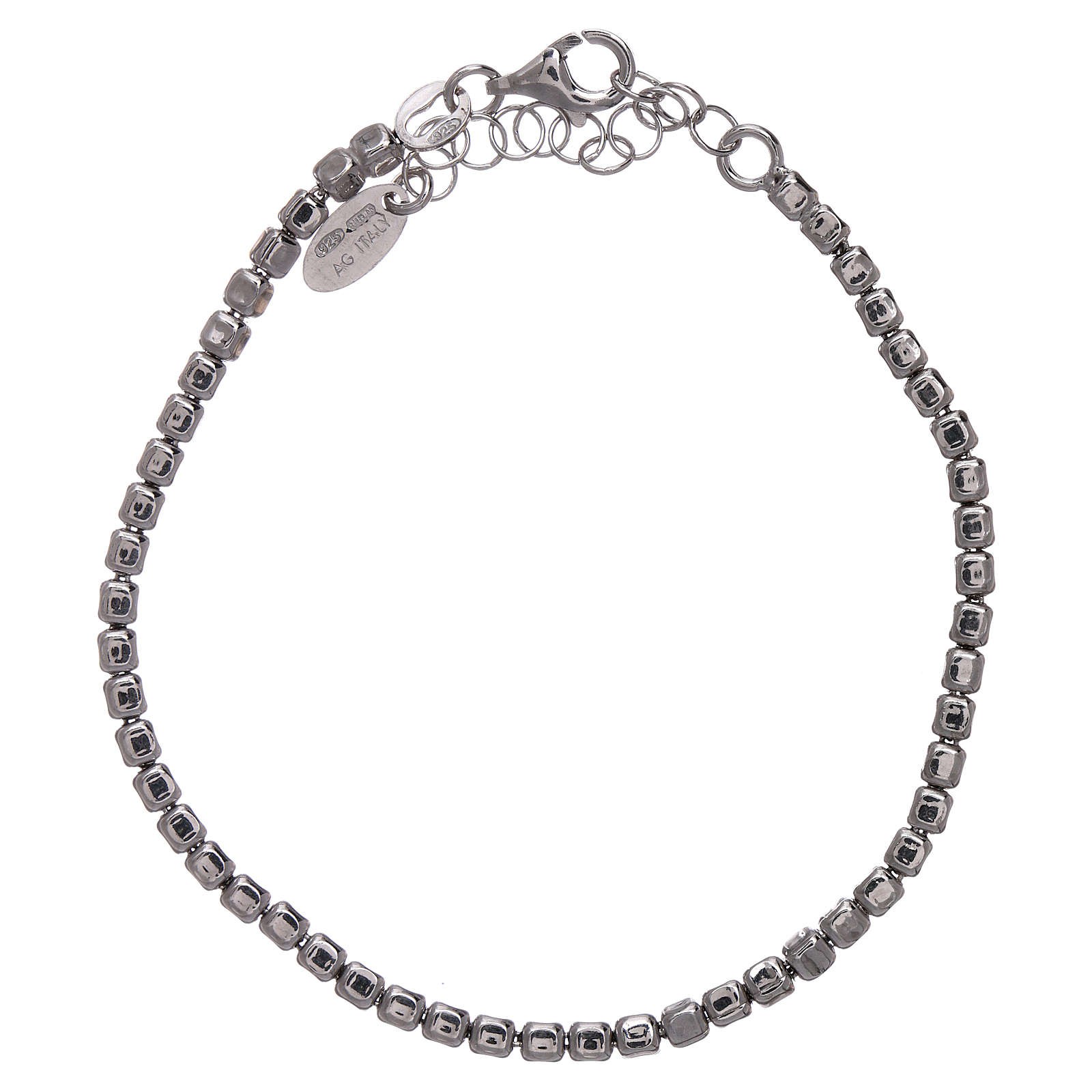 AMEN Bracelet in 925 sterling silver with rhodium nuggets 4
