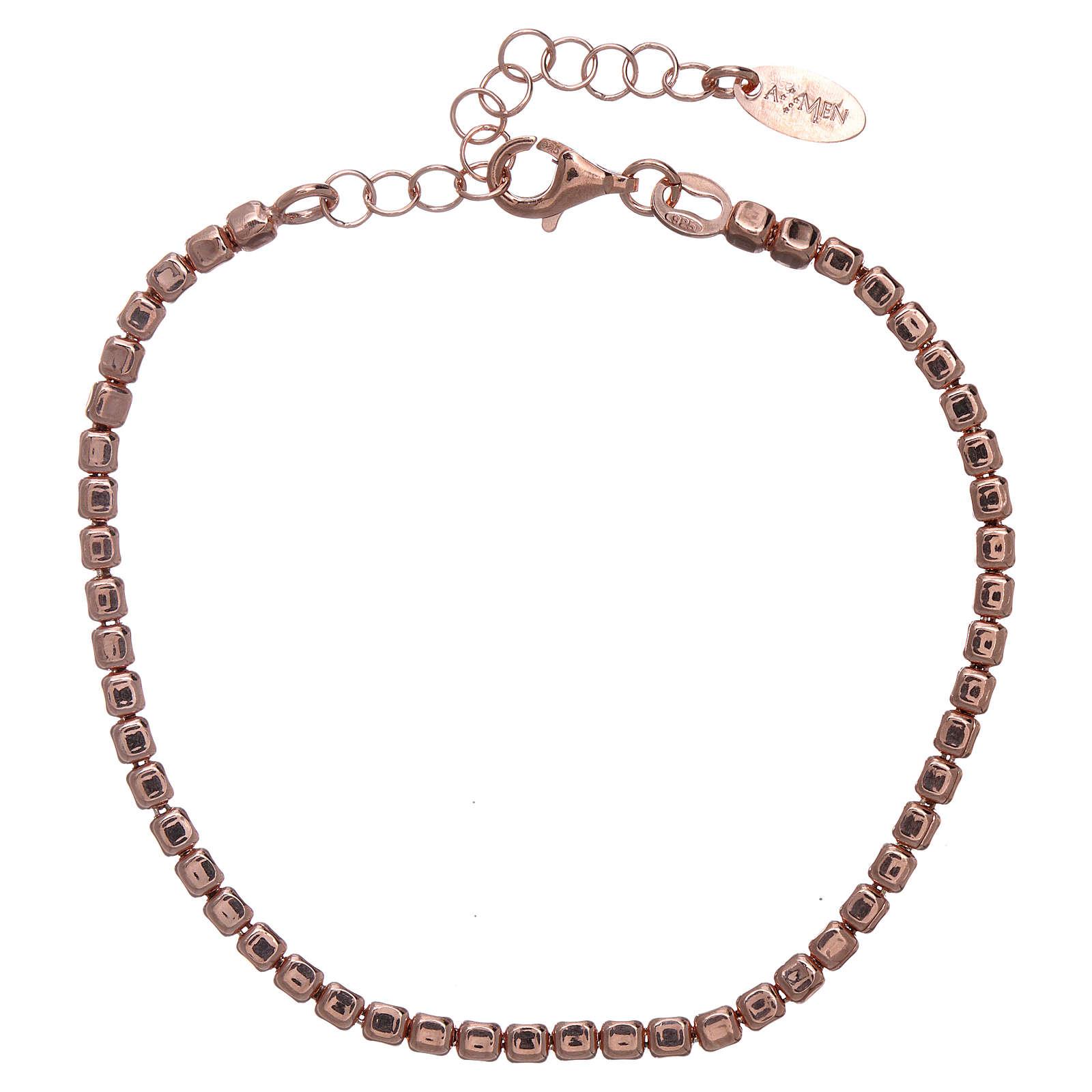 Pulseira prata 925 com pepitas rosê AMEN 4