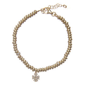 Bracciale AMEN in argento 925 oro angelo zirconato s1