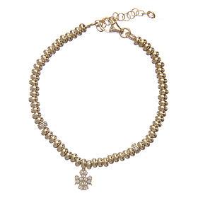 AMEN bracelets: AMEN bracelet in 925 sterling silver finished in gold with zirconate angel pendant