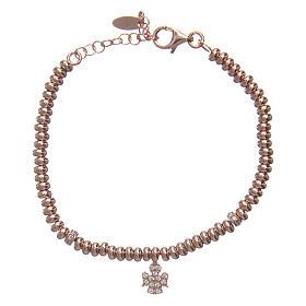 AMEN bracelets: AMEN bracelet in 925 sterling silver finished in rosè with zirconate angel pendant