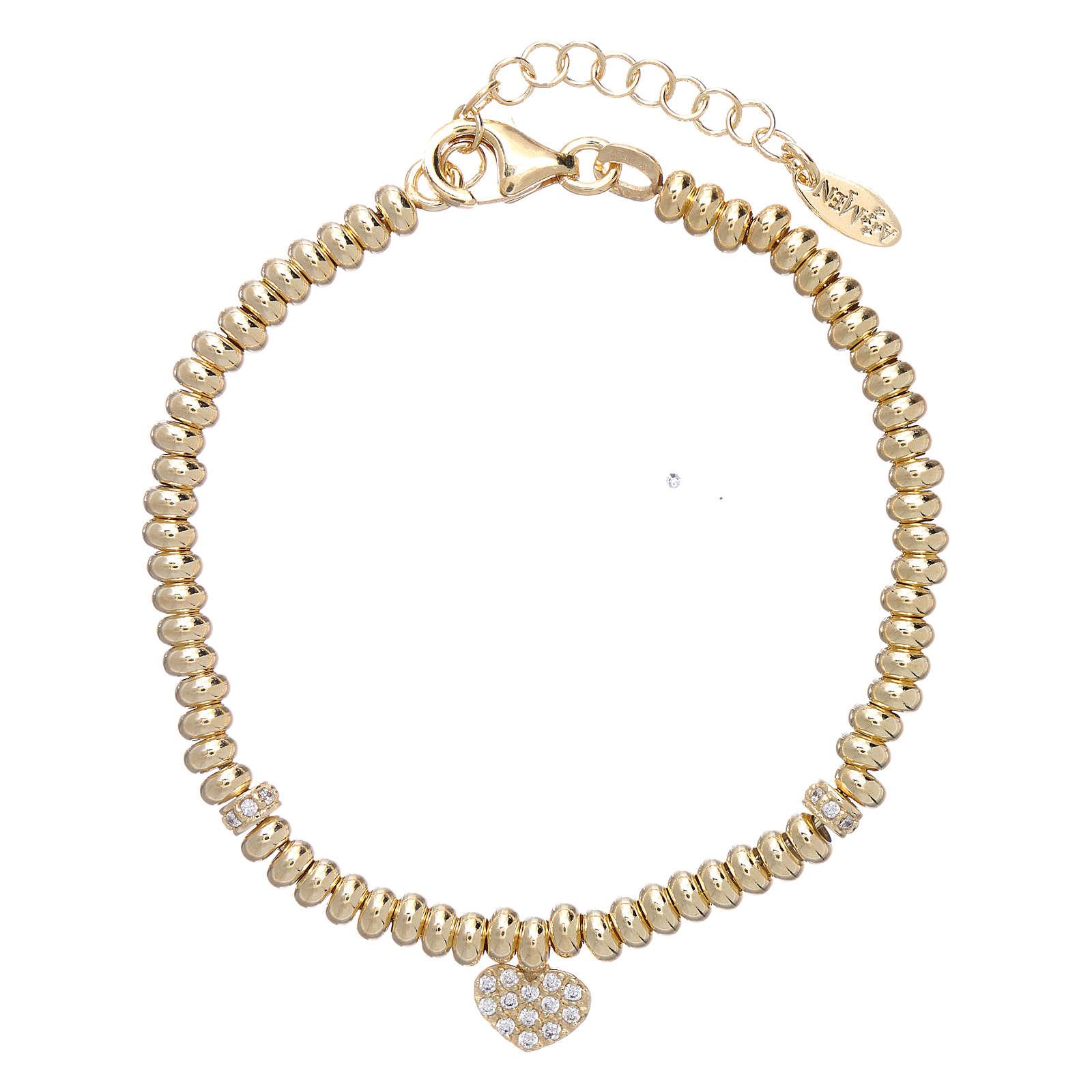 Bracciale Arg 925 oro cuore zirconato AMEN 4