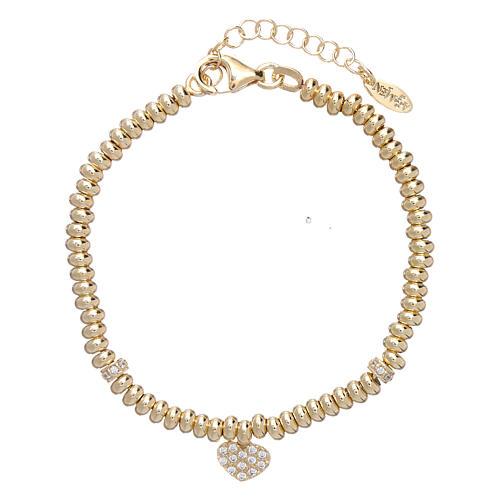Bracciale Arg 925 oro cuore zirconato AMEN 1