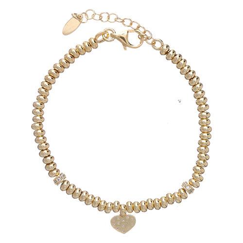 Bracciale Arg 925 oro cuore zirconato AMEN 2