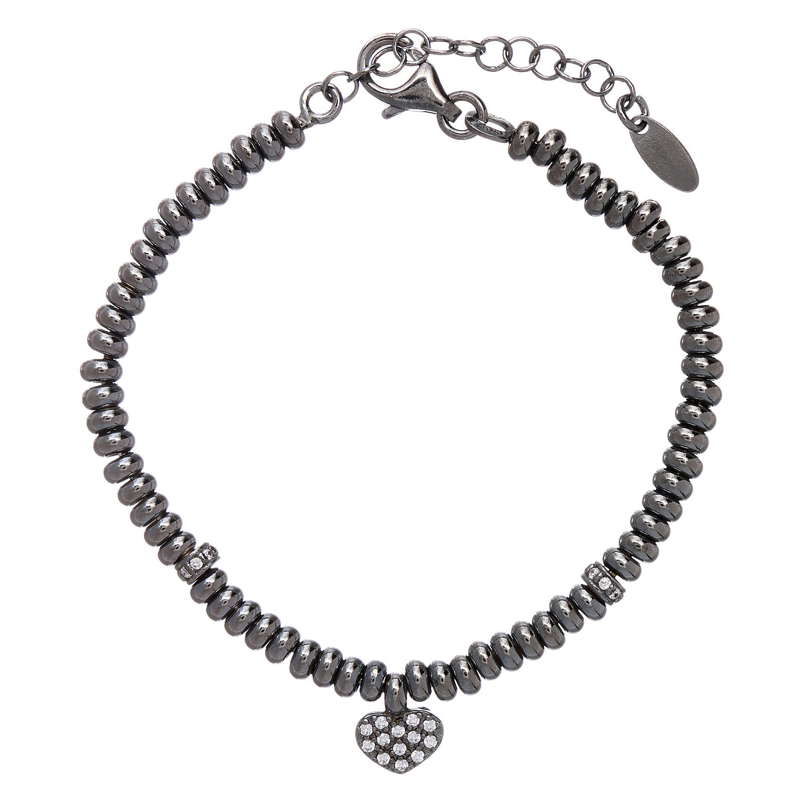 Bracciale in argento 925 rodiato nero cuore zirconato AMEN 4