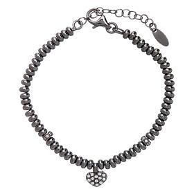 Bracciale in argento 925 rodiato nero cuore zirconato AMEN s1