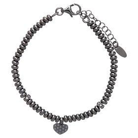 Bracciale in argento 925 rodiato nero cuore zirconato AMEN s2