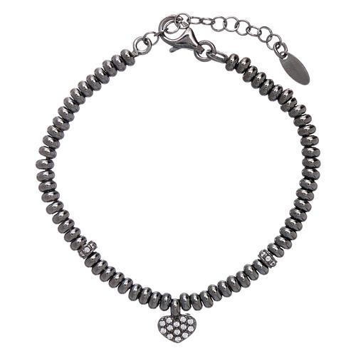 Bracciale in argento 925 rodiato nero cuore zirconato AMEN 1