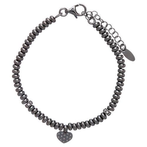 Bracciale in argento 925 rodiato nero cuore zirconato AMEN 2