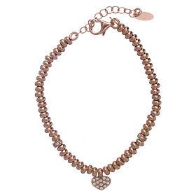 Bracciale AMEN in argento 925 rosé cuore zirconato s1