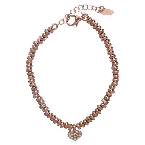 Bracciale AMEN in argento 925 rosé cuore zirconato 1