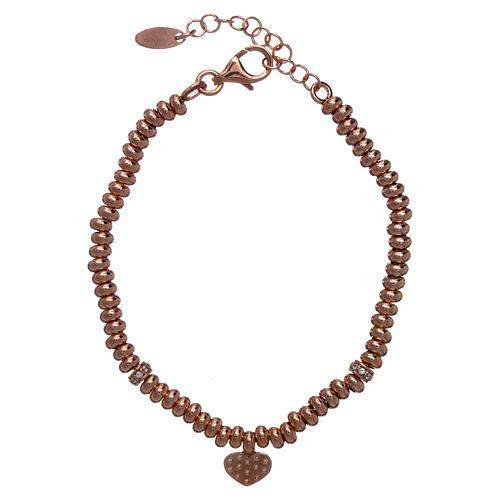 Bracciale AMEN in argento 925 rosé cuore zirconato 2