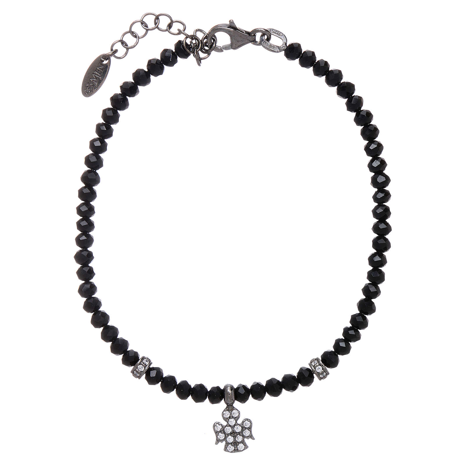 Bracciale AMEN Arg 925 cristalli neri angelo rodiato zirconato 4