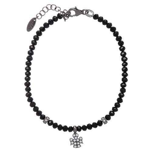 Bracciale AMEN Arg 925 cristalli neri angelo rodiato zirconato 1