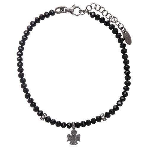 Bracciale AMEN Arg 925 cristalli neri angelo rodiato zirconato 2