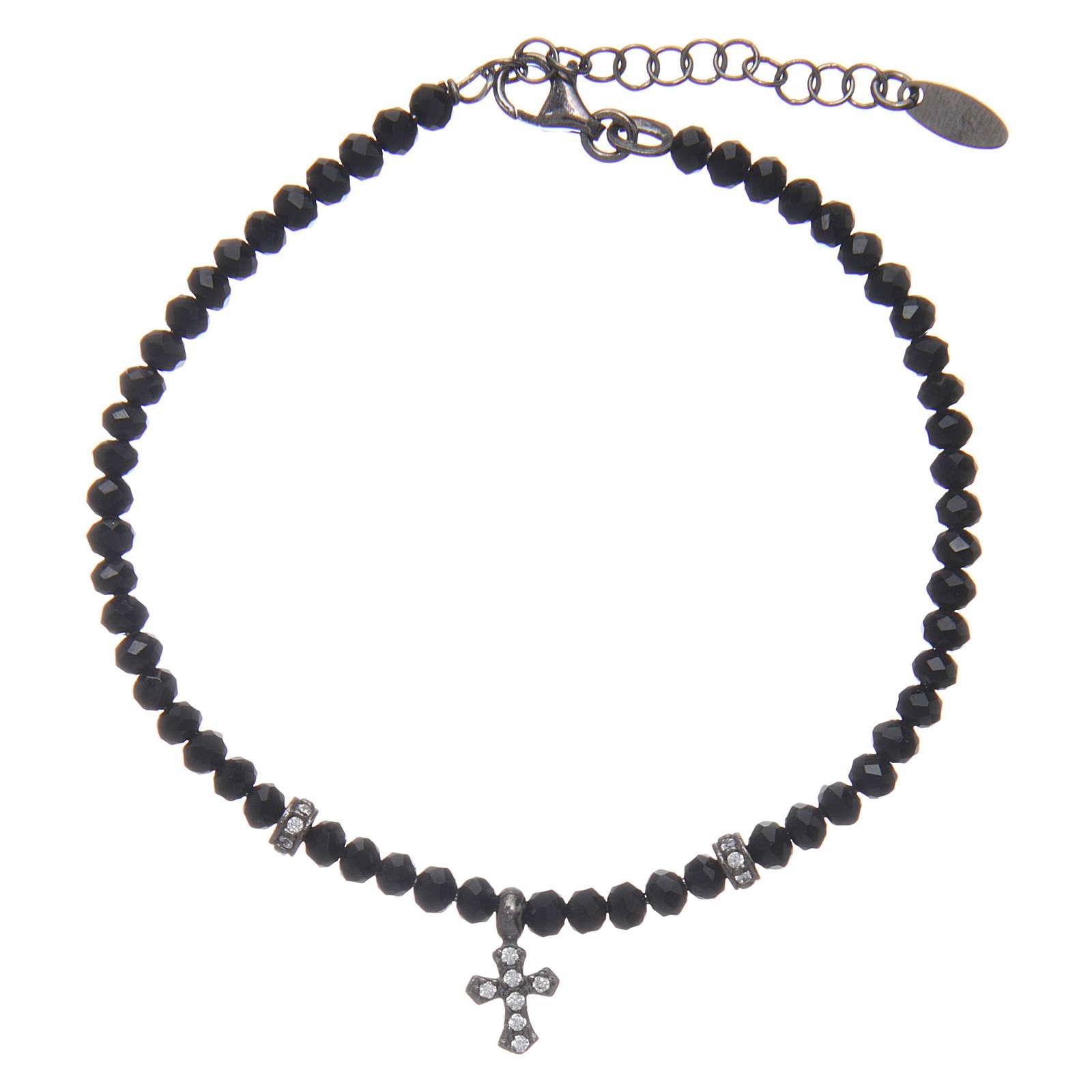 Bracciale Arg 925 AMEN cristalli neri croce rodiata zirconata 4