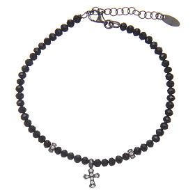 Bracciale Arg 925 AMEN cristalli neri croce rodiata zirconata s1