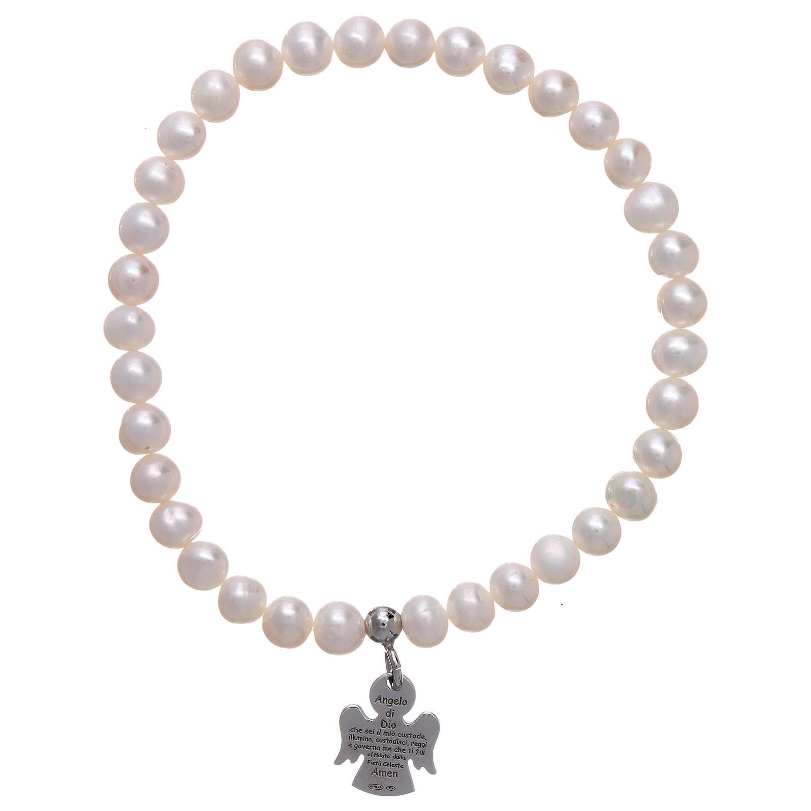 Bracciale elastico AMEN Arg 925 perle tonde 5 mm 4