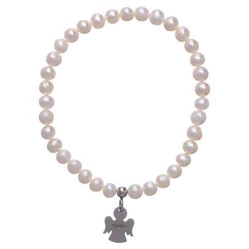 Bracciale elastico AMEN Arg 925 perle tonde 5 mm 2
