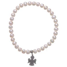 AMEN bracelets: AMEN elastic bracelet 925 sterling silver round pearls 5 mm
