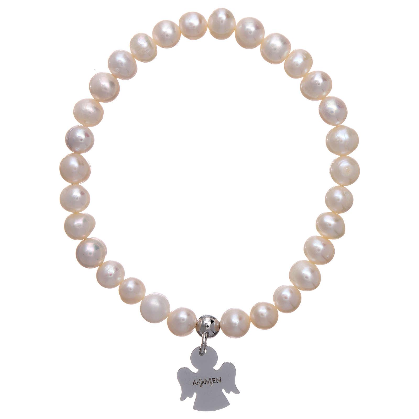Bracciale elastico con perle tonde 6 mm AMEN Arg 925 4
