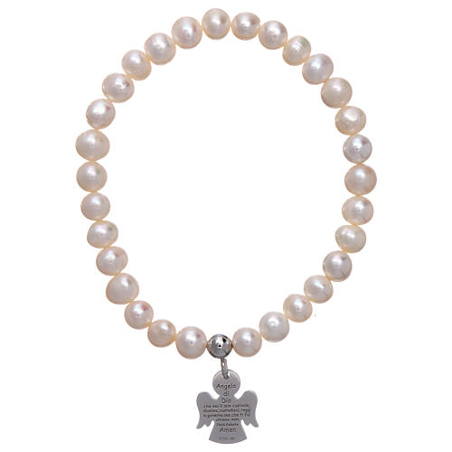 Bracciale elastico con perle tonde 6 mm AMEN Arg 925 1