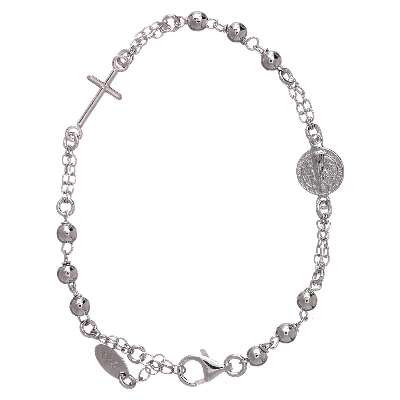c6e33829807c Pulsera AMEN Plata 925 con esferas medalla y cruz 4