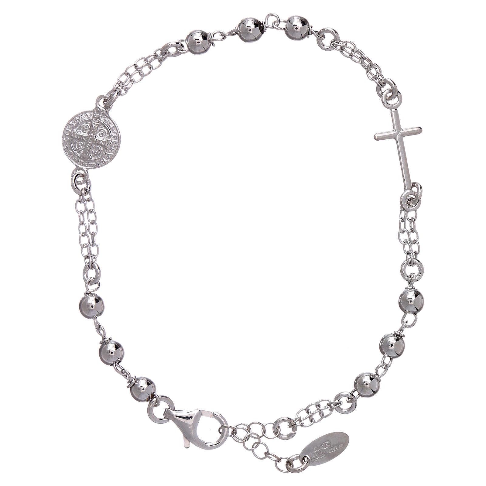 Bracciale AMEN Arg 925 con sfere medaglia e croce 4